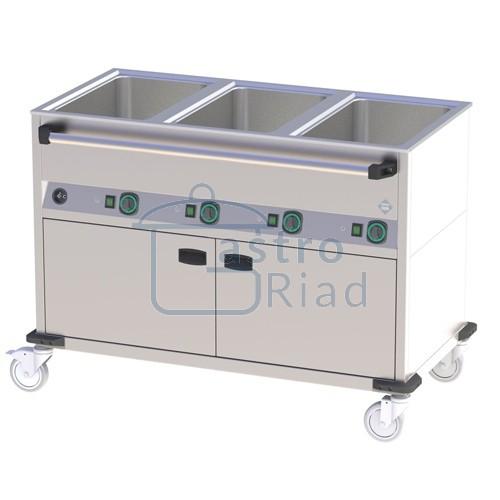 Zobraziť tovar: Kúpeľ vodná pojazdná s vyhrievanou podstavbou, 3x vaňa h.200, ovl. na dlhšej strane, BMPD-3120 CSH
