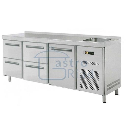 Zobraziť tovar: Stôl chladiaci s drezom, 1 x dvere, 4 x zás., RT-3D-1D4Z-S
