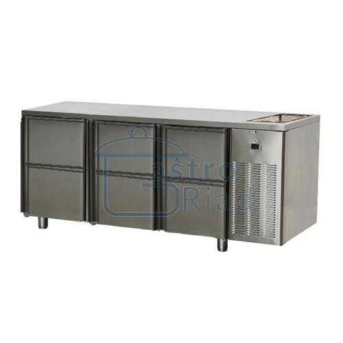 Zobraziť tovar: Stôl chladiaci s drezom, 6 x zásuvka, SCH-3D-6ZDr