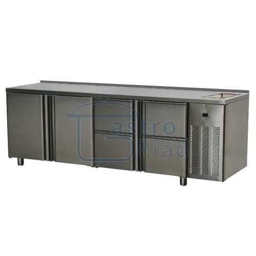 Zobraziť tovar: Stôl chladiaci s drezom, 2 x dvere, 4 x zásuvka, SCH-4D-2D-4Z+Dr