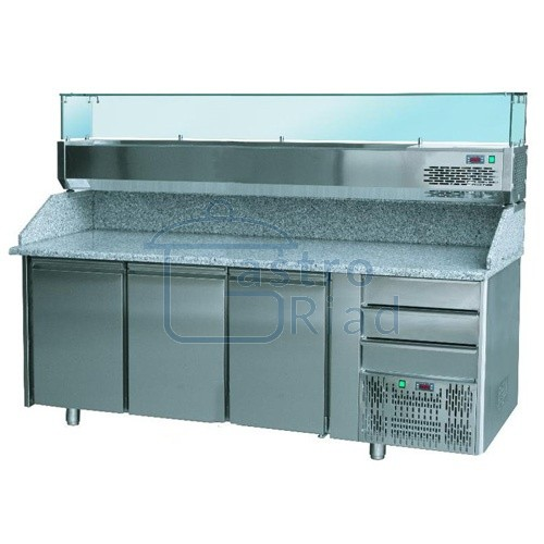 Zobraziť tovar: Stôl pizza, 3 x dvere, 3 x zásuvka, s chlad. vitrínkou 9xGN1/4 a zásuvkami, SCHP-3D3Z
