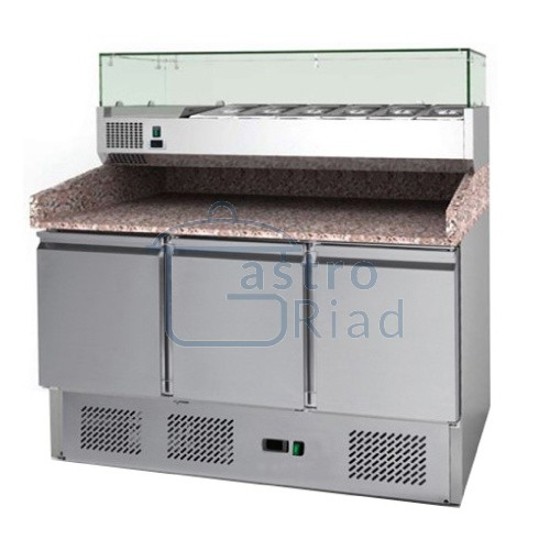 Zobraziť tovar: Stôl pizza, 3 x dvere, s chl. vitrínkou 6xGN1/4, MP-903